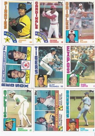 (9) 1984 Topps Baseball Star Cards