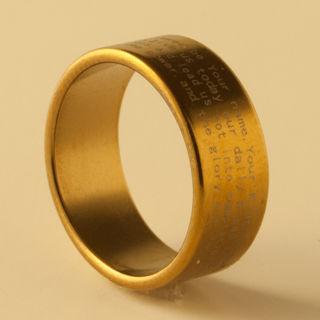 ❤★ ☆❤GIN ONLY 37777 FOR 1 New GOLDEN ENGLISH Cross Christian Prayer Stainless Steel Men/Women Ring