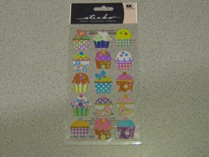 Sticko Cupcake Stickers!! Glittery & Shiny!! Super Cute!!