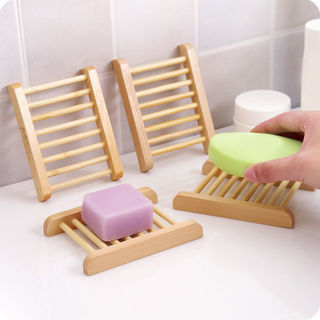 2Pcs Natural Wood Soap Tray Holder Dish Storage Bath Shower Plate Home Bathroom Wash
