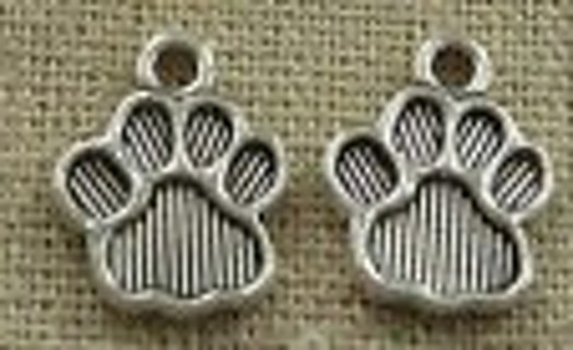 2 new silver tone dog paw print charms
