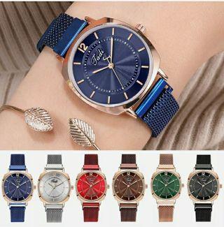 Womens Elegant Cuff Watch Magnetic Mesh Band Quartz Analog Dress Wrist Watch