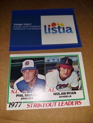 1978 TOPPS #206⭐NOLAN RYAN/ PHIL NIEKRO⭐1977 STRIKE OUT LEADERS⭐ EXCELLENT VINTAGE⭐FREE $HIPPING