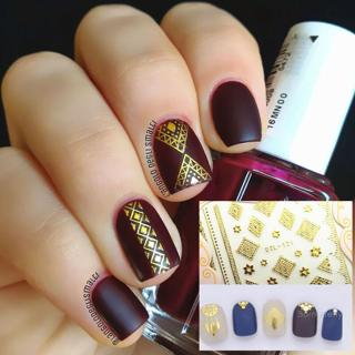 Gold/Silver 3D Nail Art Adhesive Sticker Flower Manicure Decor DIY DTL121