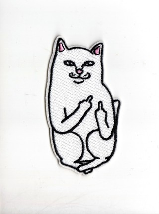POCKET CAT Flipping Off Iron-On Patch /Applique