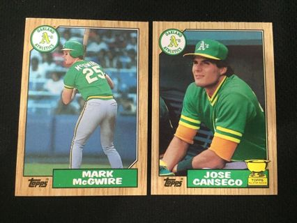 mark mcgwire, and jose canseco rookie cards