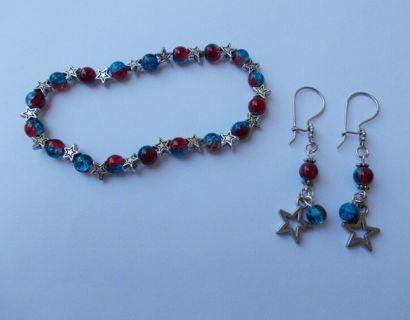 USA Patriotic **STARS** Red, White & Blue Crackle Glass Beaded Bracelet & Earrings SET