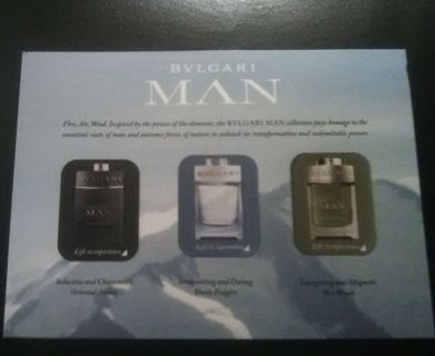 3-Bvlgari Man Samples-Oriental Amber,Woody Fougere & Neo Woody-Read description before bidding