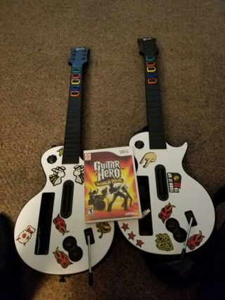 Guitar Hero World Tour and guitars.