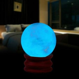 35MM Blue Luminous Quartz Crystal Sphere Ball Glow In The Dark Stone With Base