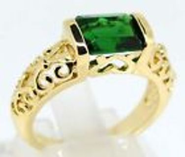 Pretty 14K Gold Plated Emerald Ring 7.5
