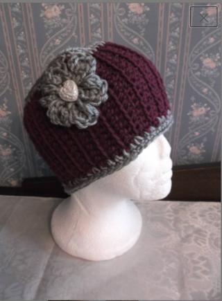 MAROON/GREY Crocheted / Knitted Ear Warmers / Headband
