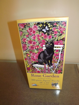 The Rose Garden Black Cat Jigsaw Puzzle By Chrissie Snelling 300 piece