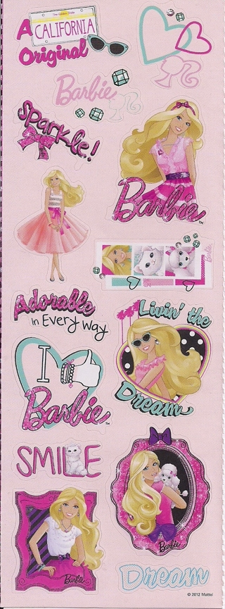 Brand New Sheet Of Barbie Stickers