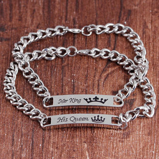 [GIN FOR FREE SHIPPING] 1Pair His Queen Her King His and Hers Love Couple Stainless Steel Bracelet