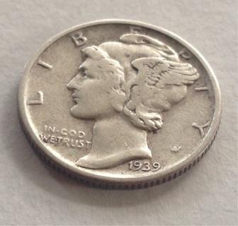 1939 EF/AU Mercury Dime