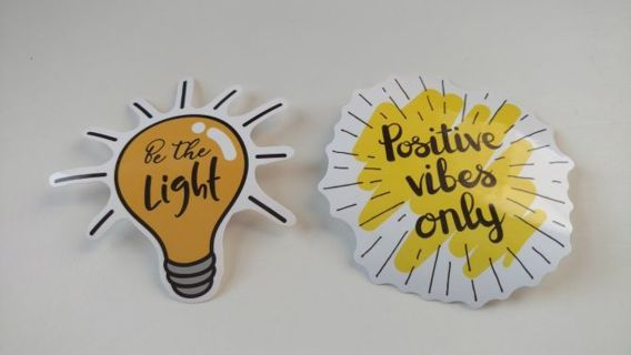 Good vibes 3 inch vinyl positive lap top stickers