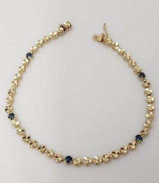 "14k Yellow Gold Diamond Cut Sapphire Tennnis Bracelet 7 1/4"""
