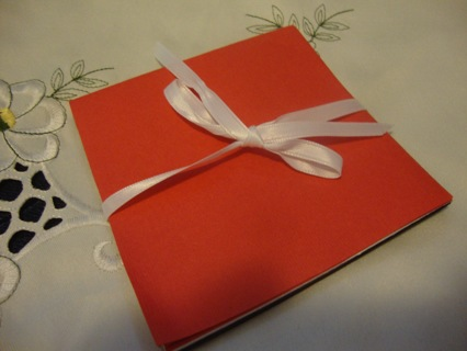 Red White Black Folding Card with ribbon tie ~ Free Shipping
