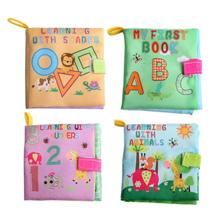 4 Style Baby Toys Soft Cloth Books Rustle Sound Infant Educational Stroller