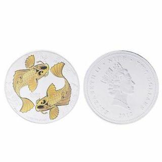 New Niue Elizabeth Queen Commemorative China Coin Koi Fish Lucky Souvenir Gift