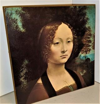 """Leonardo Da Vinci GINEVRA DA BANCI reproduction on 1/8"""" board 9"""" x 9"""" NGOA"""