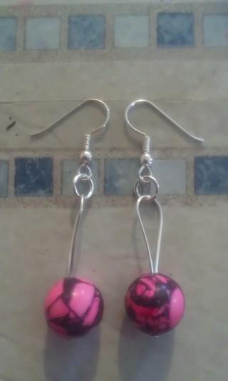 Hand made pink camo earrings