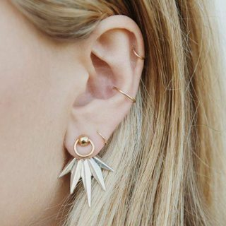 5 Pcs/set Women Fashion Leaves Feather Geometric Earrings Simple Round Gold Ear Buckle Lady Party