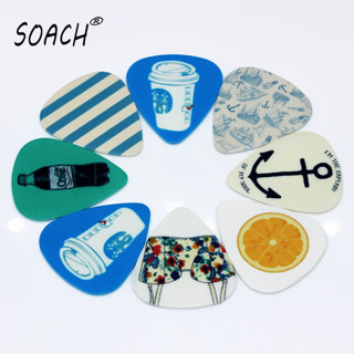 SOACH 10pcs New Blue background images Guitar Picks Thickness 1.0mm