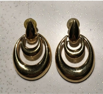 Vintage Napier Gold Tone Oval Classic Doorknob Earrings