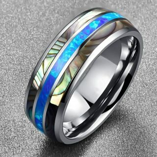 [GIN FOR FREE SHIPPING] Inlaid Shells Blue Opal Tungsten Steel Men Ring