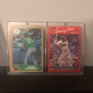 Mark McGwire and Sammy Sosa Baseball Cards in Protective Cases