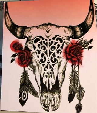 """Cow Skull with feathers - 4 x 4"""" MAGNET"""
