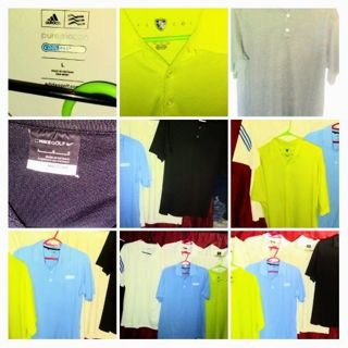 NIKE/ADIDAS DRY FIT GOLF SHIRTS MED. NOT ONE HAS BEEN WORE MORE THAN ONCE!!