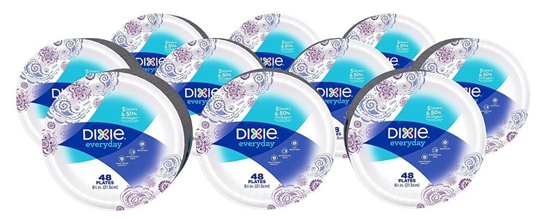 """Dixie Everyday Paper Plates, 8 1/2"""", 480 Count, 10 Packs of 48 Plates, Lunch or Light Dinner Size"""