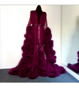 Fancy sheer feathered robe (Deep red)