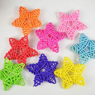 10PCS 6CM Lovely Rattan Star Sepak Takraw Christmas/Birthday&Home Wedding Party Decorations DIY