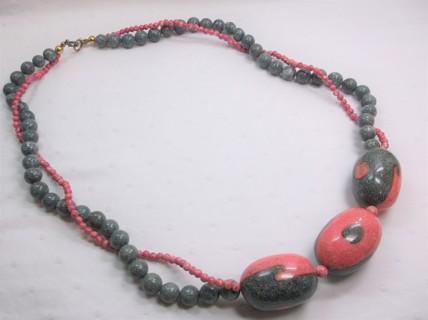 Karla Jordan Gray & Pink Light Weight Stone Necklace