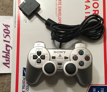SONY PS2 Controller Silver PLAYSTATION 2 Game Control Dualshock  (READ)