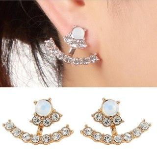 SMJEL Fashion Geometric Rhinestone Curved Bar Stud Earring Women Crystal T Bar Piercing Cuff