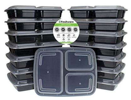NEW Freshware Meal Prep Containers [15 Pack] 3 Compartment with Lids BPA FREE