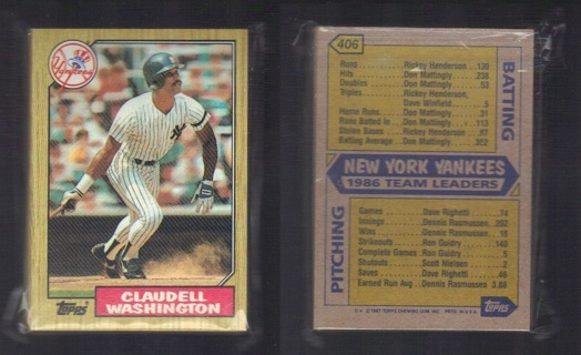 1987 Topps New York Yankees Team Set - 37 different cards including subsets - Stars Galore!