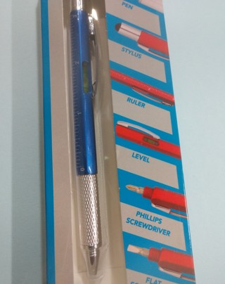 BLUE 6-in-1 STYLUS PEN Black Ink Ruler Level Phillips Flat Screwdrivers NEW - Free Shipping