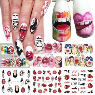 1pcs Nail Stickers Sexy Lips Cool Girl Water Decals Wraps Cartoon Sliders For Nail Decoration Mani