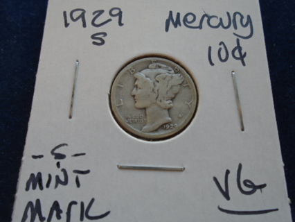 1929-S MERCURY DIME -S- MINT MARK...FULL DATE!
