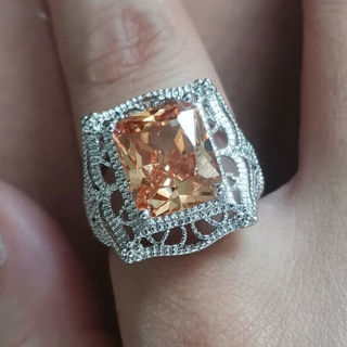 silver womans ring sz 9 stamped 925 12 ct citrine