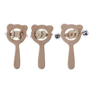Baby Beech Wooden Rattle Teethers Montessori Toys Wooden Baby Rattle Teether