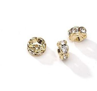 Darice, 3 Piece, Metal Lined Czech Rhinestone Beads, Gold and Crystal