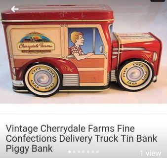 Vintage Tin Cherrydale Farms Truck Bank