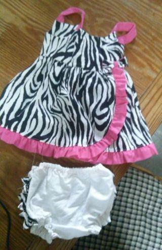 zebra dress 12 months (handmade)